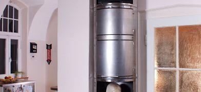 Stahlschrank rund Säule Rohr Raumhöhe