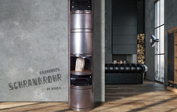 Rohrschrank, Stahlrohr-Schrank, Regal-Säule in Raumhöhe
