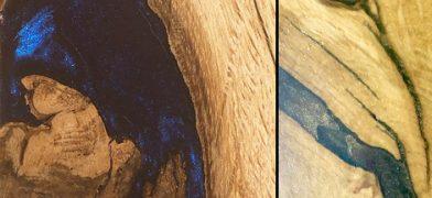 Holzfensterbank Eiche mit Epoxidharz-Füllung in blau und gold
