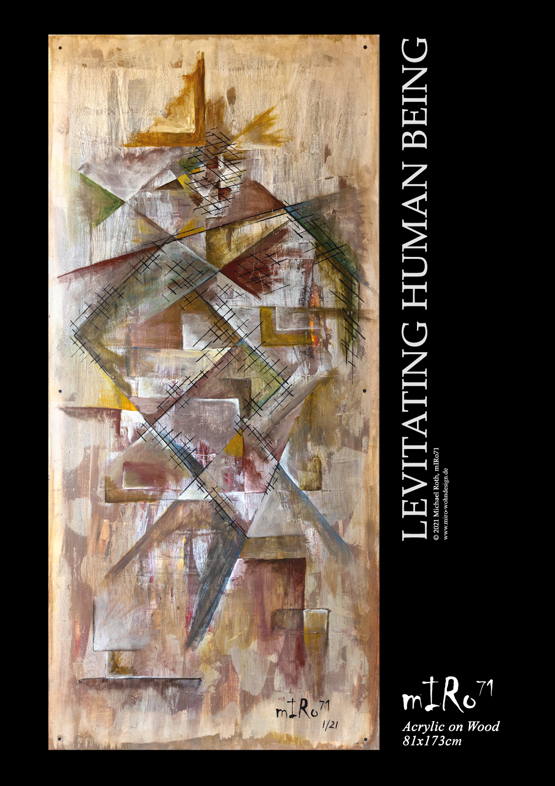 LEVITATING HUMAN BEING, Acrylic Painting on Wood, Acryl Gemälde, mIRo71